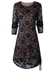 Ruched Side Full Sleeve Tunic Lace Dress -