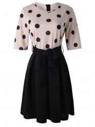 Половинная рукава Polka Dot Tie Waist Dress -