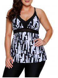 Plus Size Abstract Print Tankini Set -