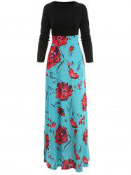 Floral Print High Rise Long Dress -
