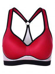 Color Block Mesh Trim Padded Workout Bra -