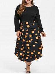 Plus Size Halloween Pumpkins Cats Print Flare Dress -