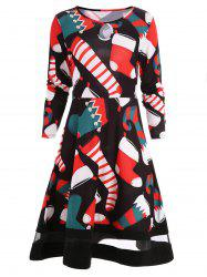 Christmas Socks Print T-shirt Dress -