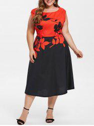Sleeveless Plus Size Floral Print A Line Dress -