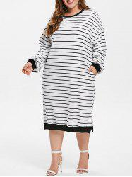 Drop Shoulder Plus Size Striped T-shirt Dress -