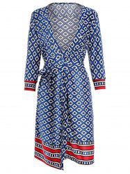 Geometric Print Wrap Dress -