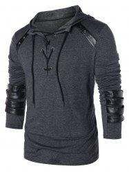 Hooded Lace Up Sweatshirt -