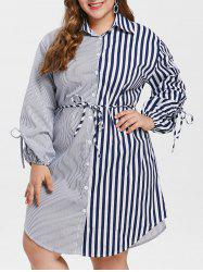 Plus Size Tied Sleeve Striped Shirt Dress -