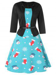 Snowman Stocking Christmas Vintage Knee Length Belted Dress -