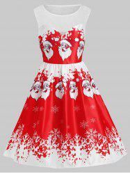 Plus Size Christmas Santa Claus Lace Insert Dress -