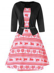 Christmas Elk Print A Line Dress -