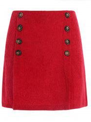 Short Corduroy Skirt with Buttons -