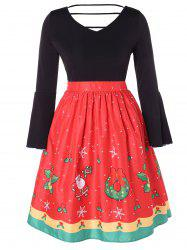 Christmas Plus Size Printed Bell Sleeve Dress -