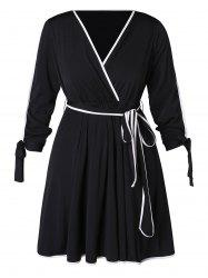 Plus Size Contrast Trim A Line Dress -