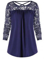 Criss Cross Backless Sheer Lace Panel Blouse -