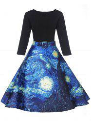 Vintage Starry Sky Print Fit and Flare Dress -