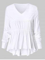 Plus Size Smocked High Low Flounced Blouse -