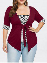Plus Size Ruffle Polka Dot T-shirt -