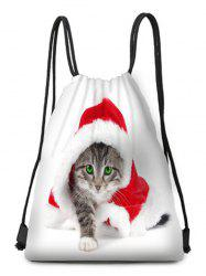 Christmas Dressed Cat Print Drawstring Candy Bag -