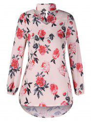 Cut Out Floral Print Blouse -