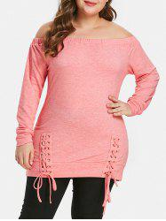 Plus Size Lace Up Off The Shoulder T-shirt -