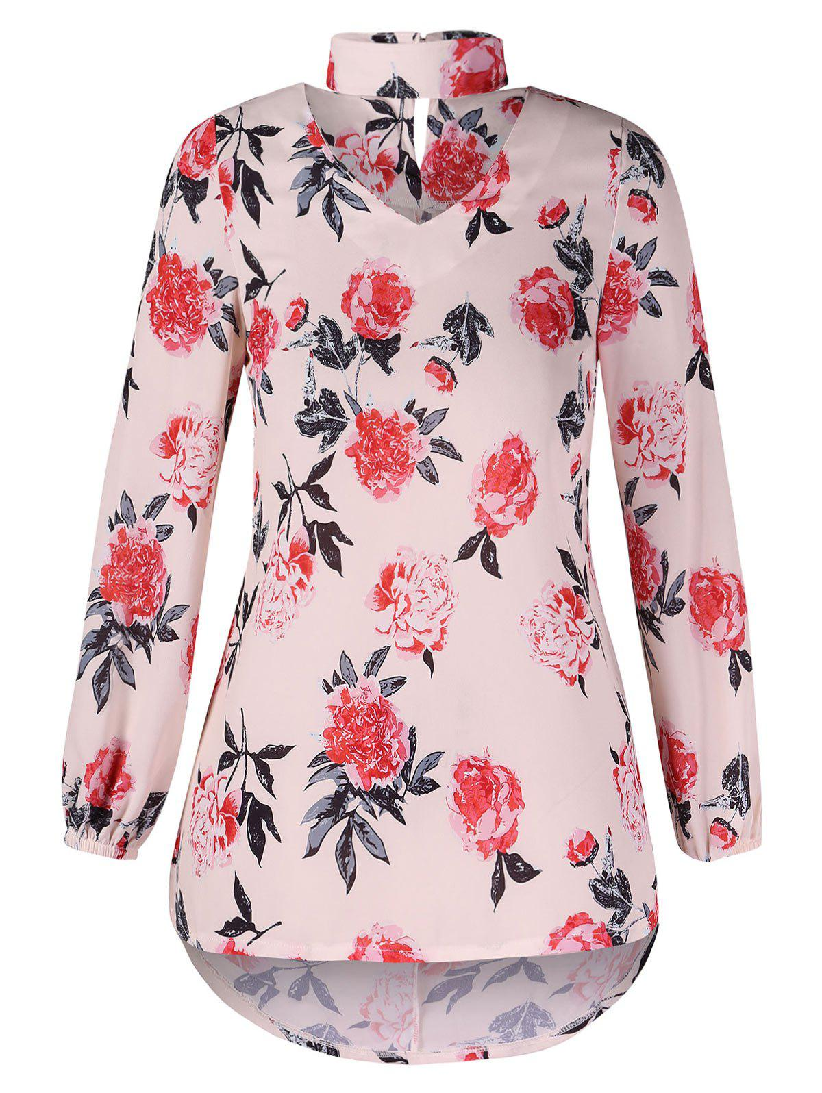 New Cut Out Floral Print Blouse