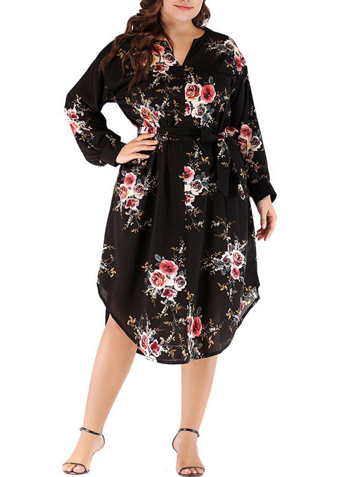 New Plus Size Flower Belted Dress
