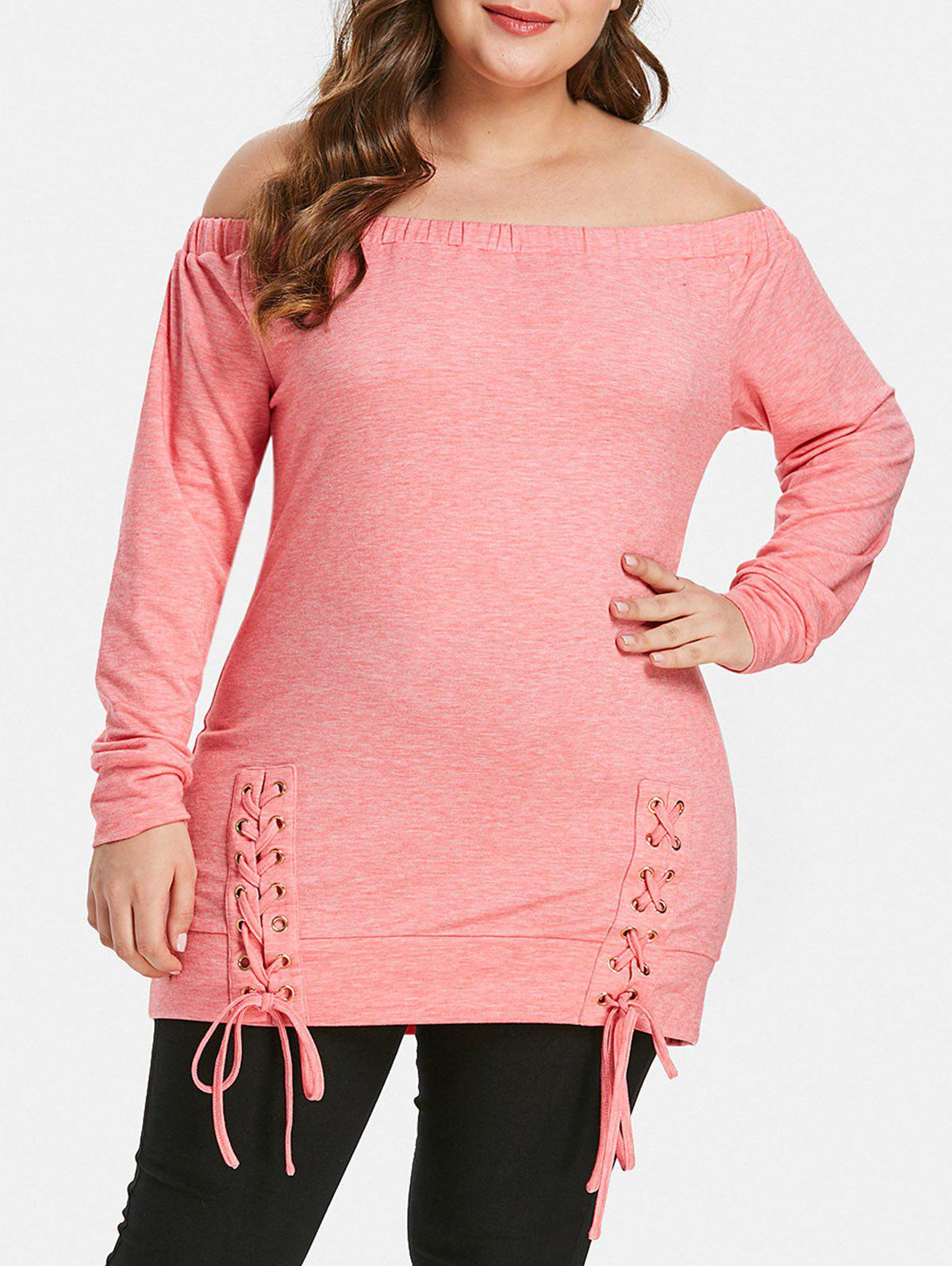 Outfit Plus Size Lace Up Off The Shoulder T-shirt