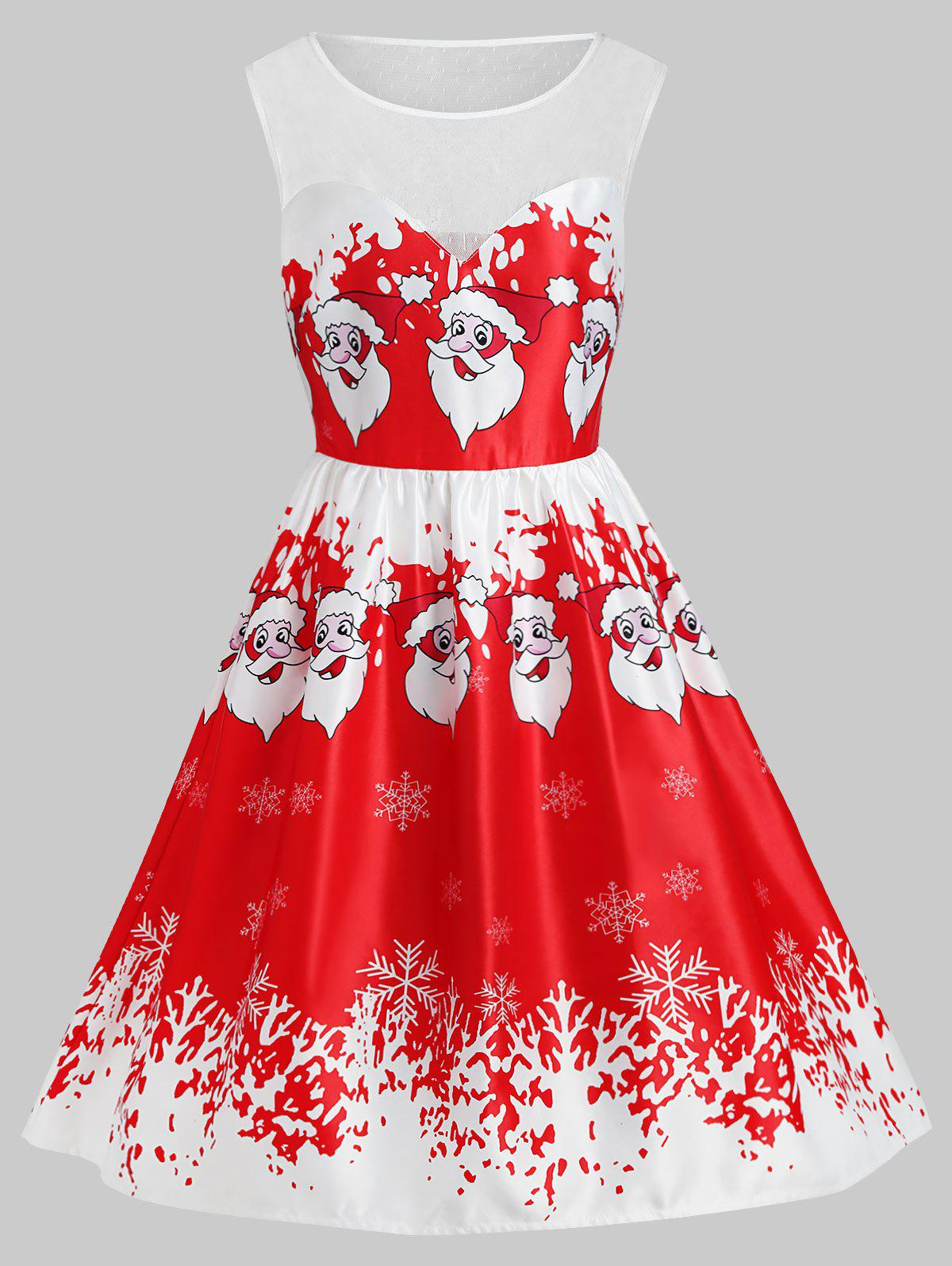 New Plus Size Christmas Santa Claus Lace Insert Dress
