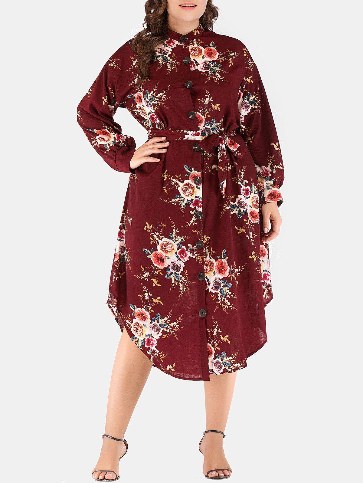 Trendy Plus Size Flower Drop Shoulder Belted Dress