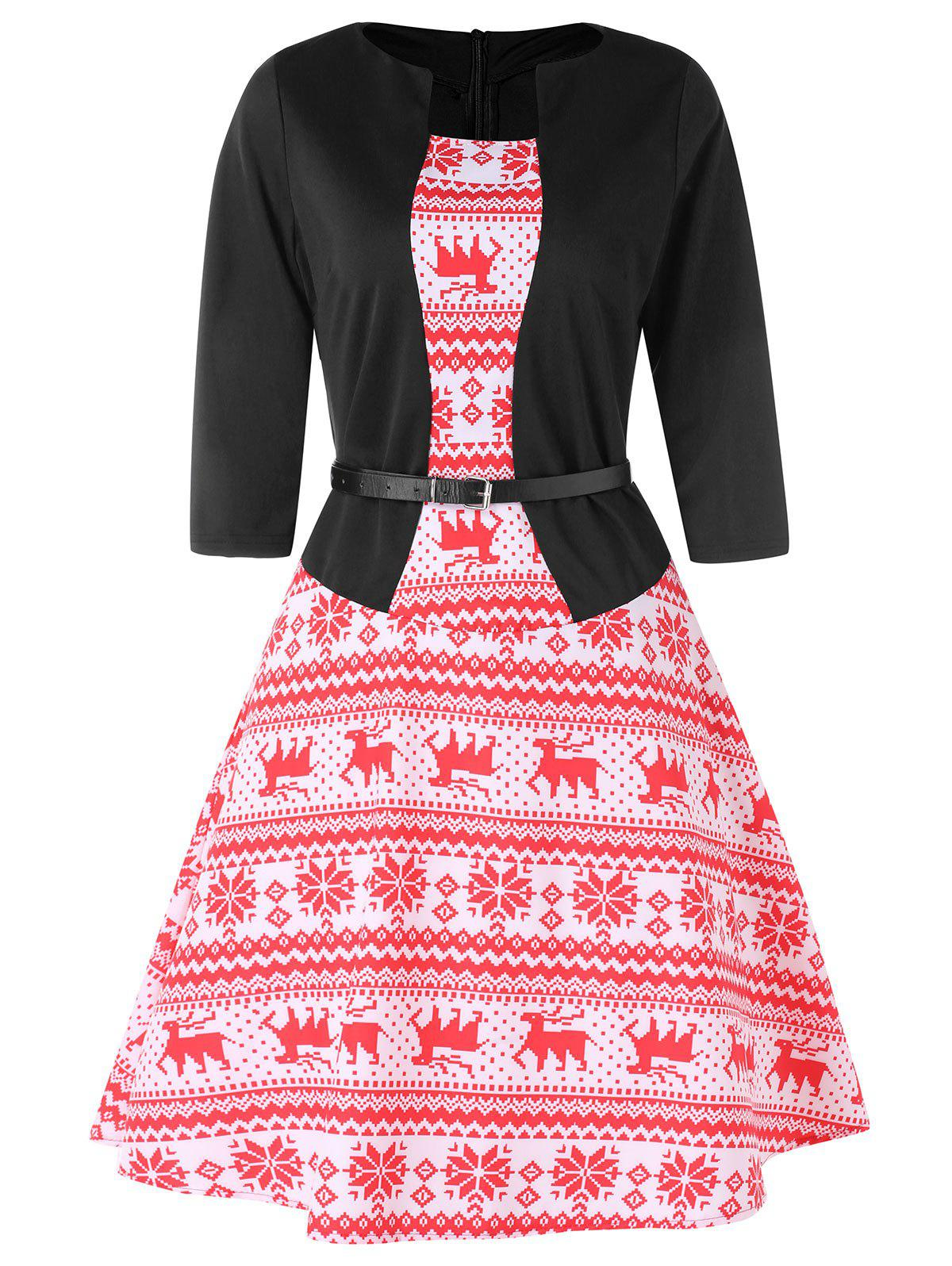 Online Christmas Elk Print A Line Dress