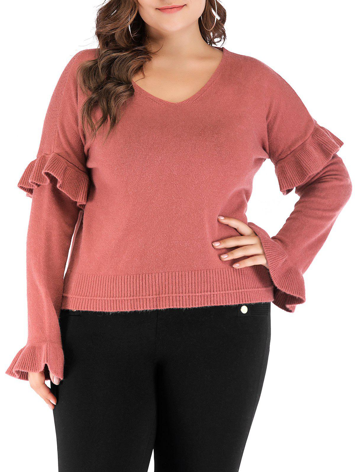 Latest Plus Size Ruffle V Neck Sweater