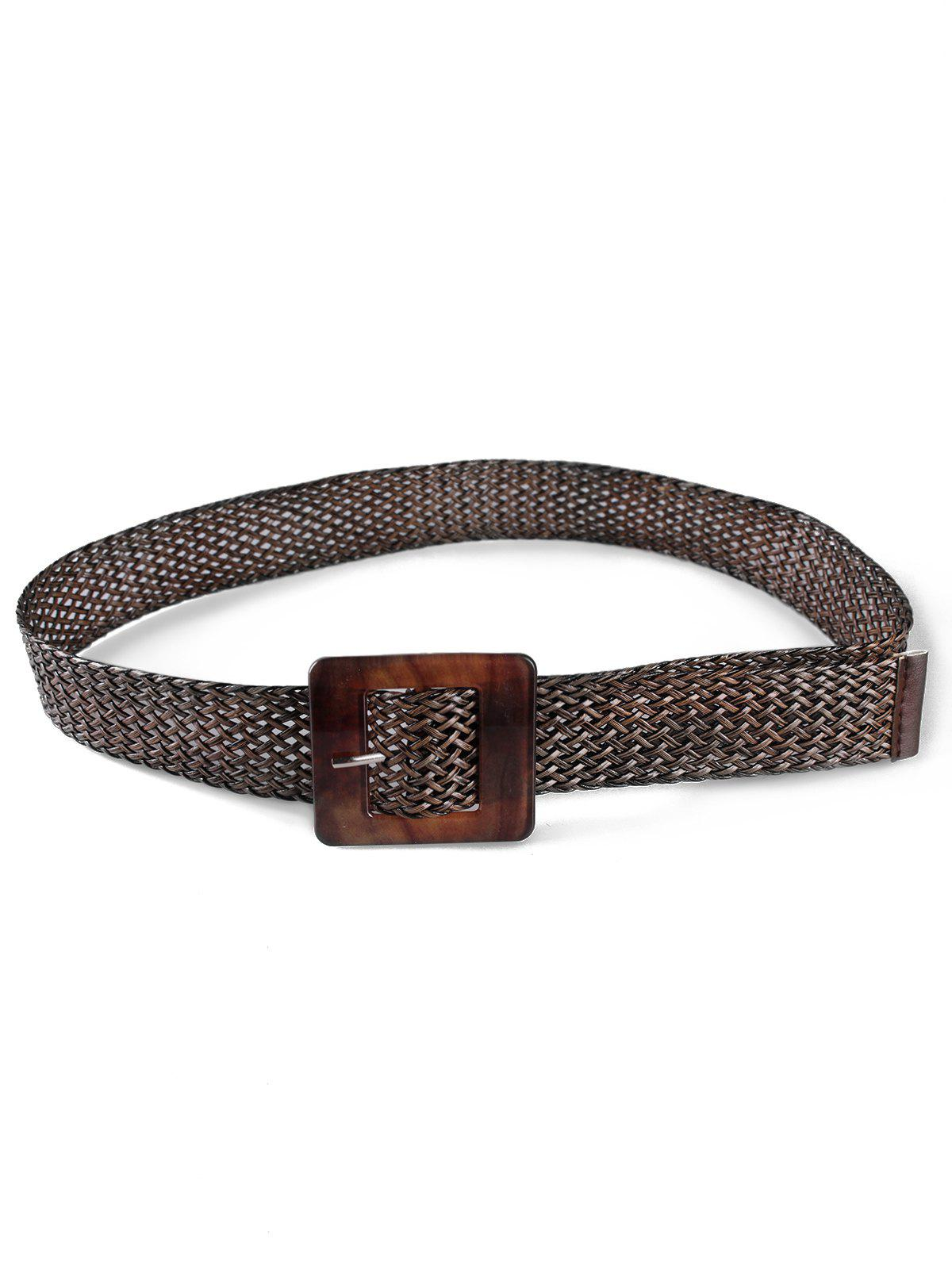 Outfits Elegant Square Buckle Braided Belt