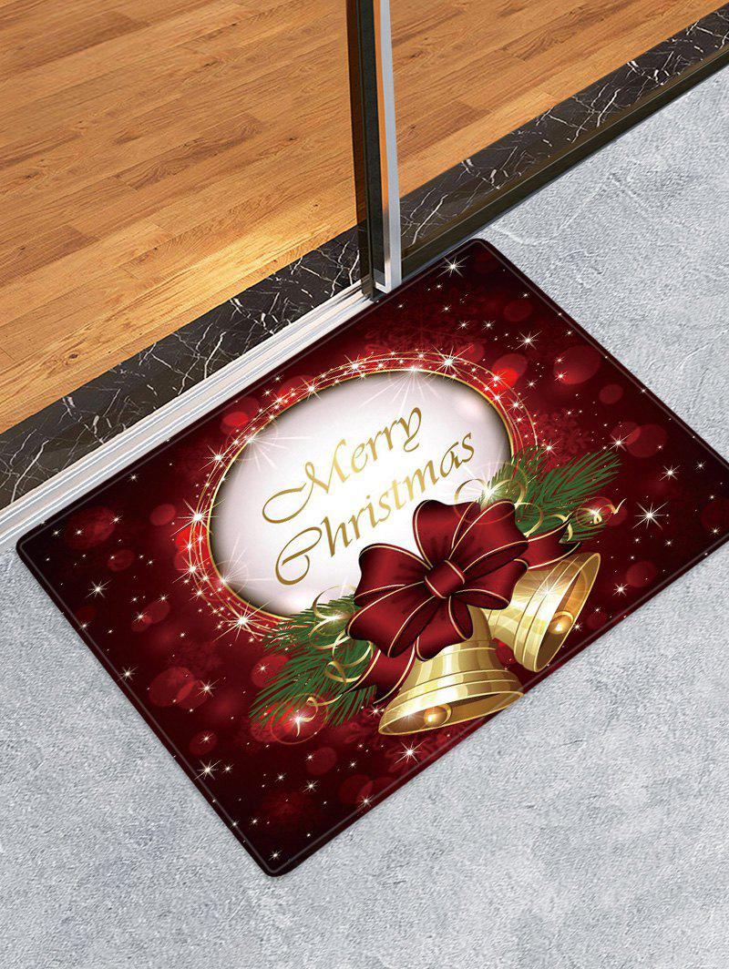 Store Christmas Bowknot Bells Pattern Anti-skid Water Absorption Area Rug