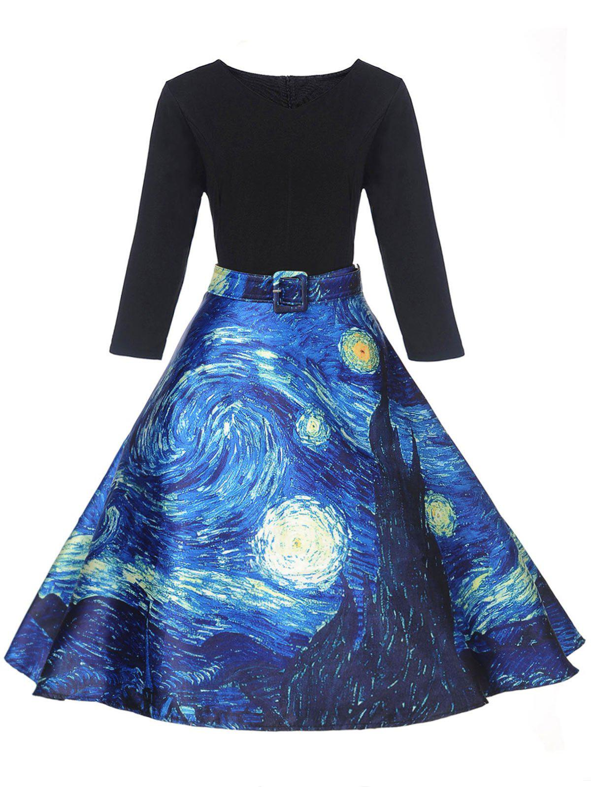 Hot Vintage Starry Sky Print Fit and Flare Dress