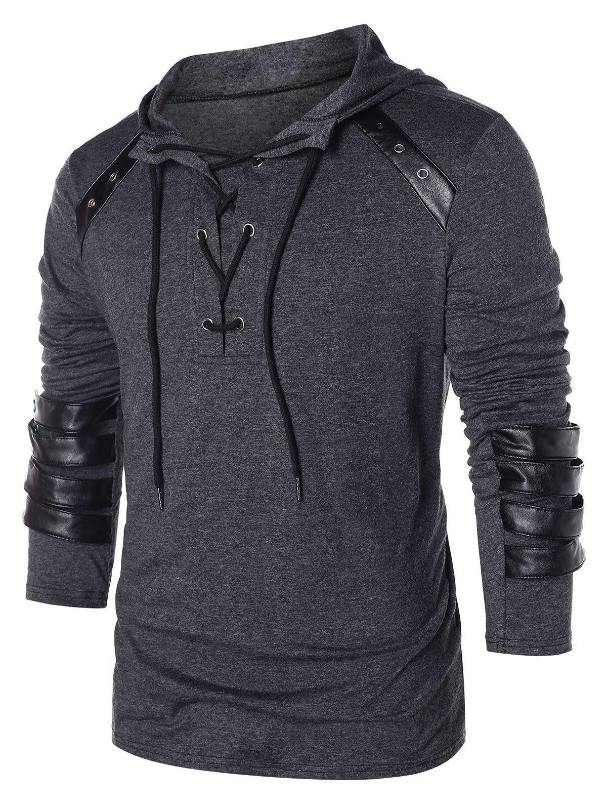 Cheap Hooded Lace Up Sweatshirt