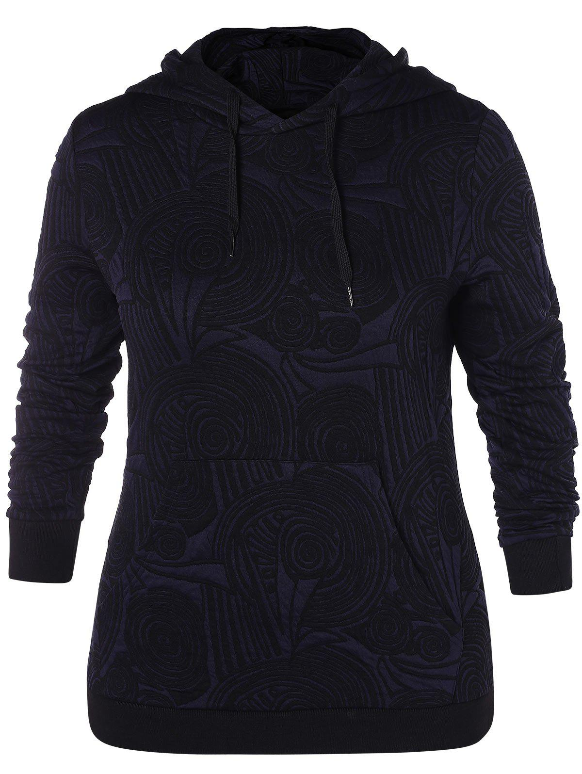 Affordable Plus Size Kangaroo Pocket Print Hoodie
