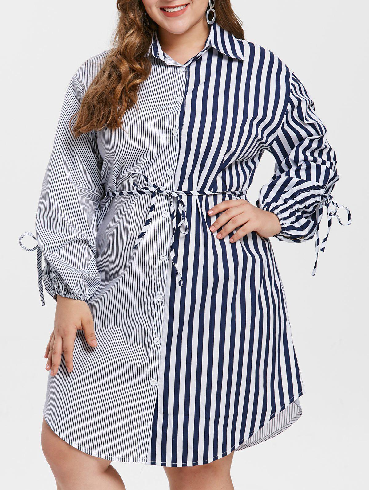 Hot Plus Size Tied Sleeve Striped Shirt Dress