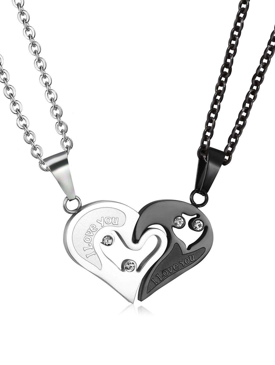 Latest Splicing Stainless Steel Heart Pendant Necklace