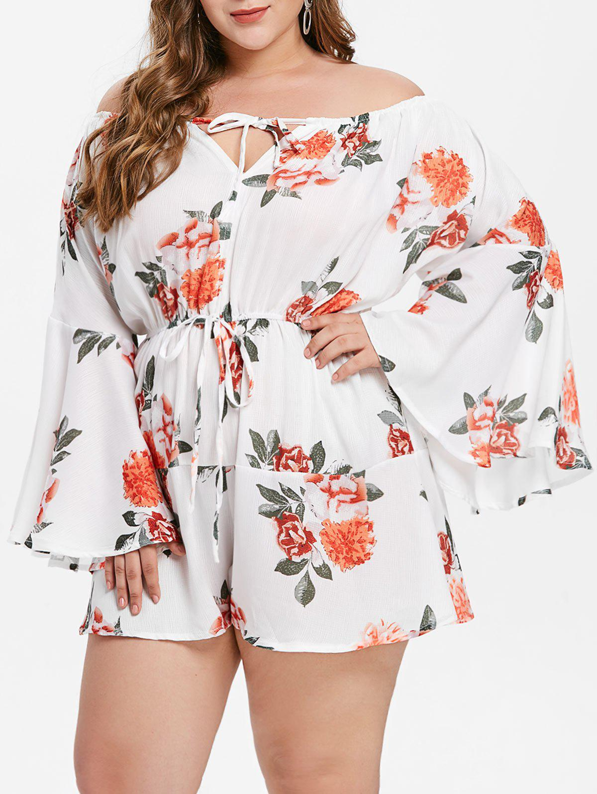 Outfit Flare Sleeve Plus Size Floral Print Romper