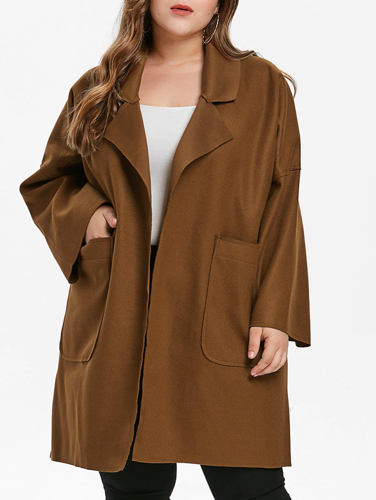 Shops Plus Size Drop Shoulder Felt Coat