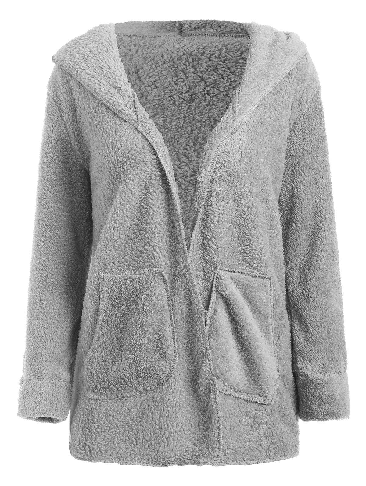 Latest Open Front Hooded Fuzzy Coat