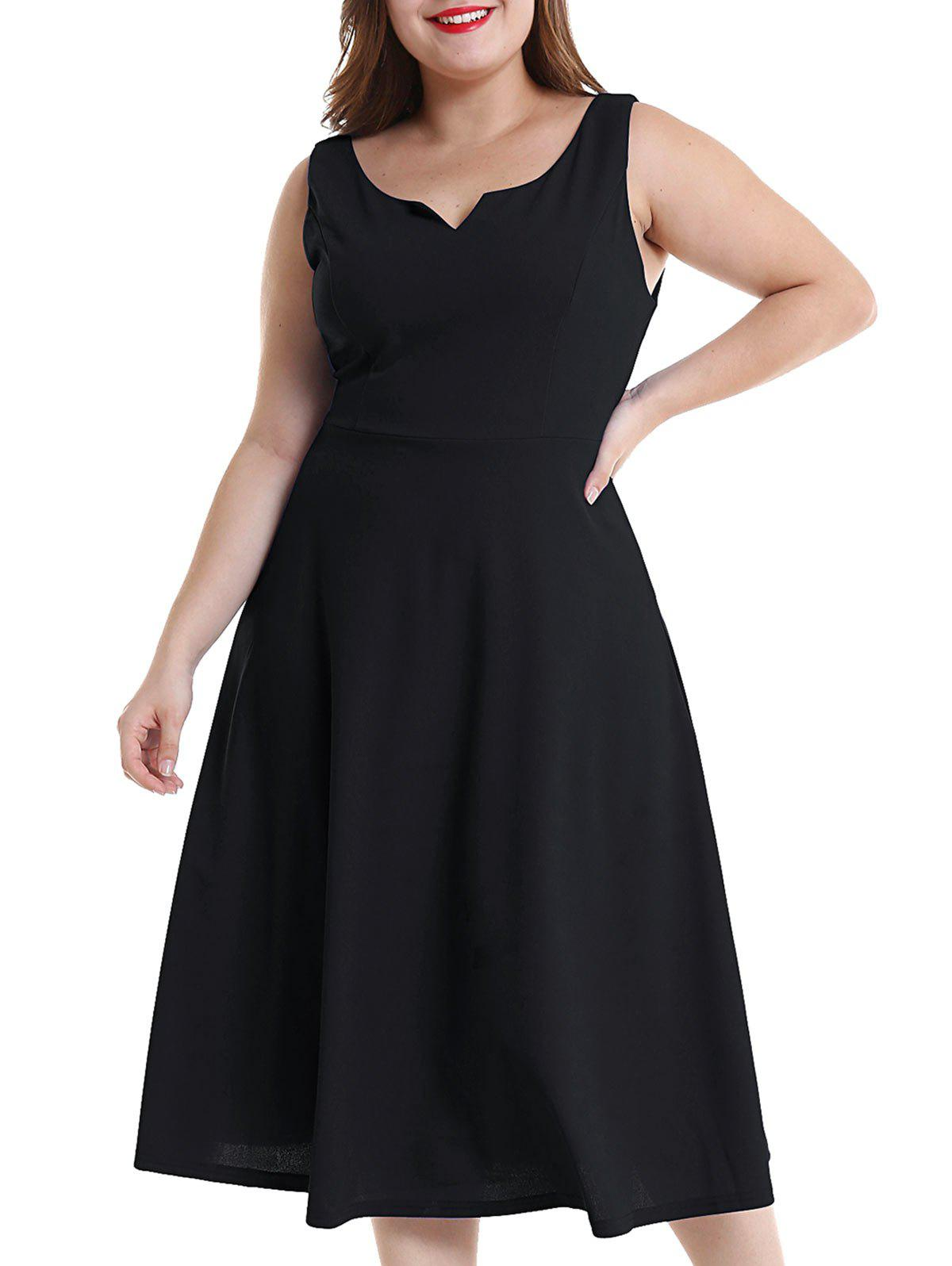 Hot Plus Size Midi Flare Dress