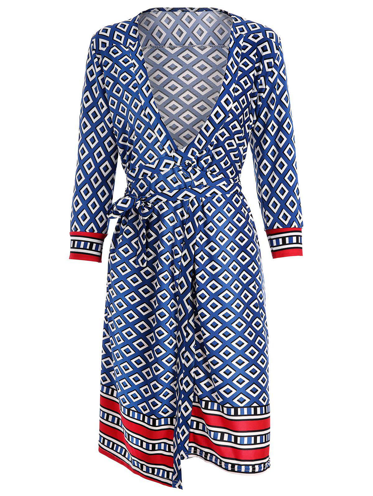 Online Geometric Print Wrap Dress