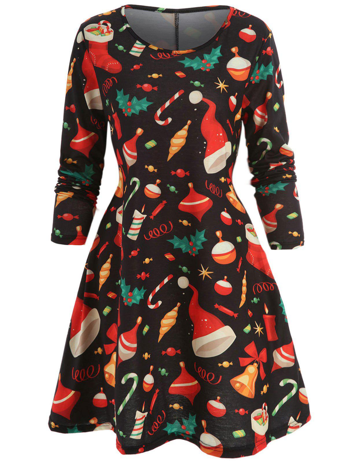 Affordable Christmas Printed Mini Trapeze Dress