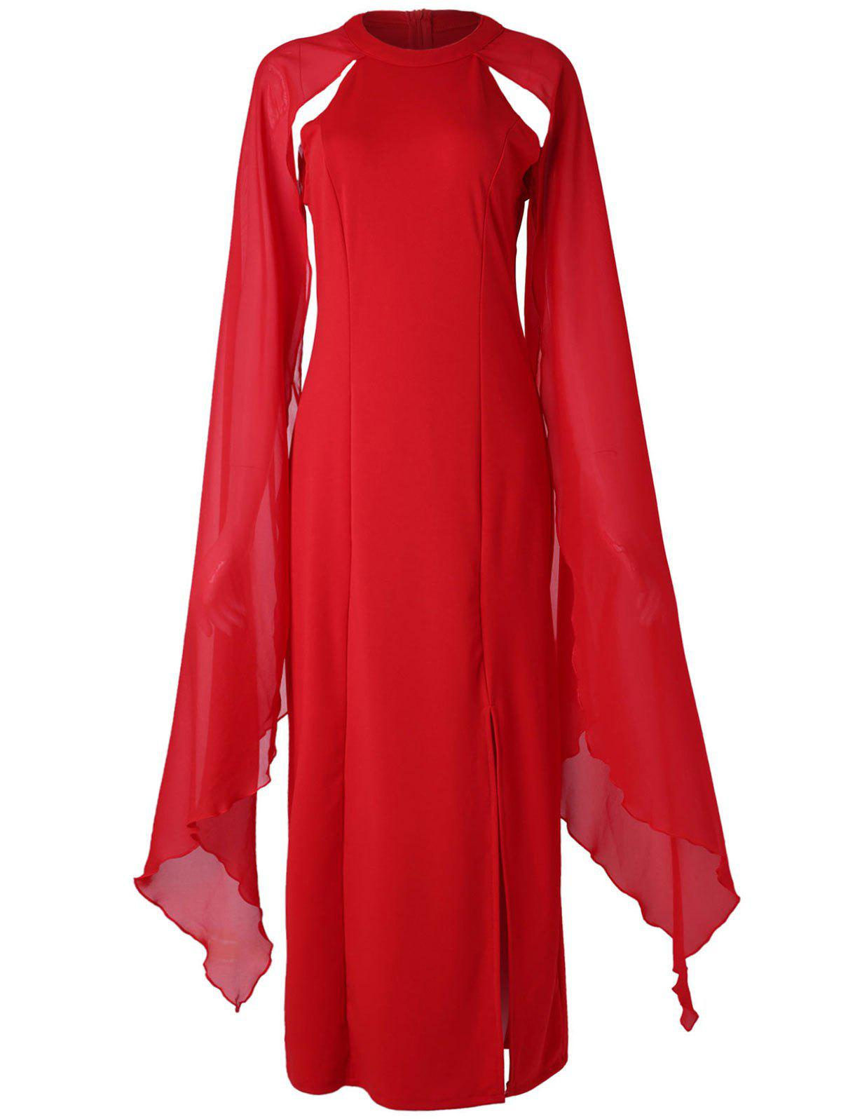 Best Crew Neck Flowy Sleeve Long Dress