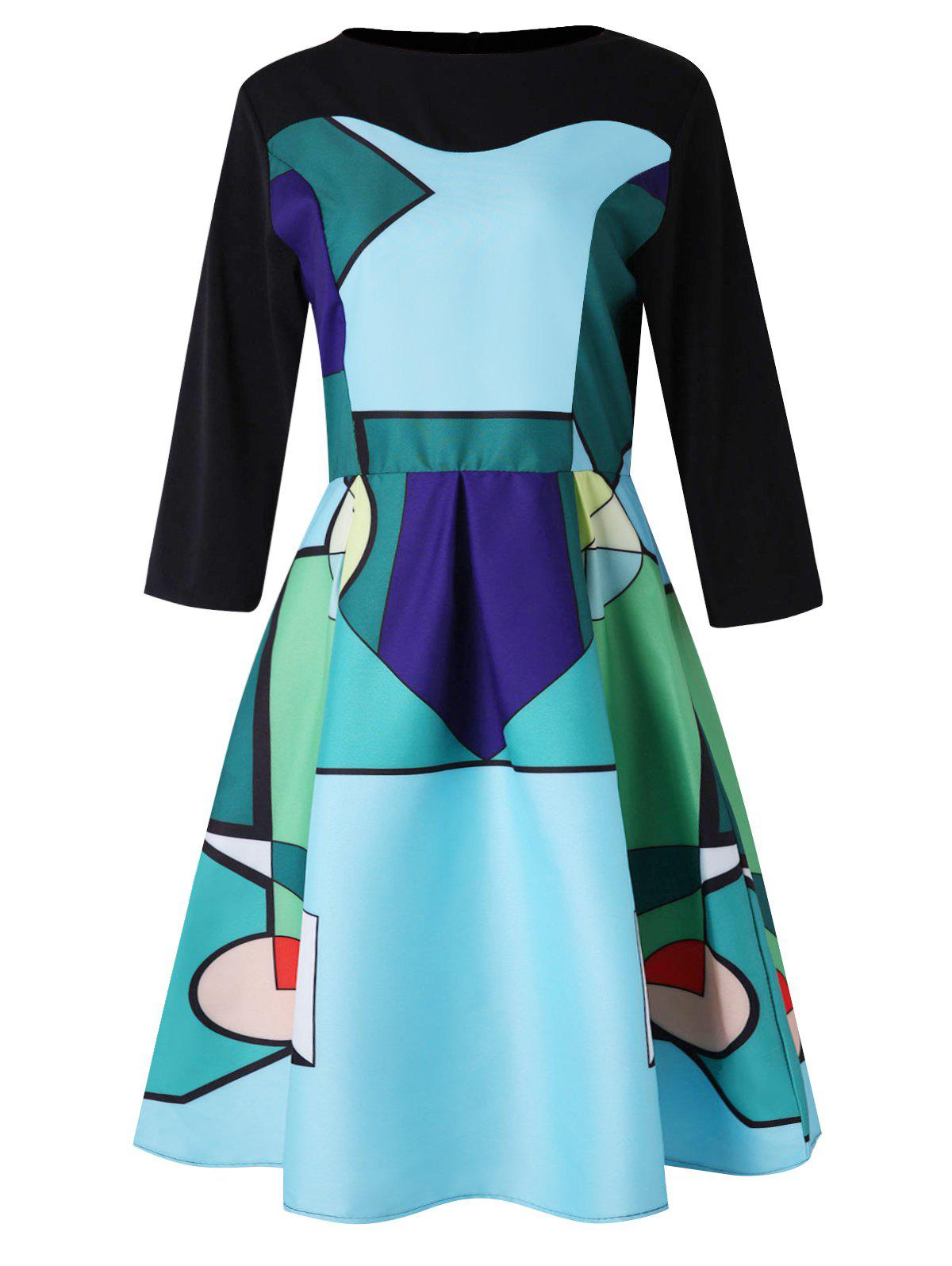 Fancy Abstract Geometric Print Three Quarter Sleeve Dress