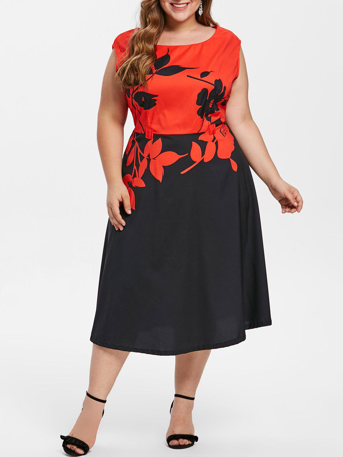 Outfit Sleeveless Plus Size Floral Print A Line Dress