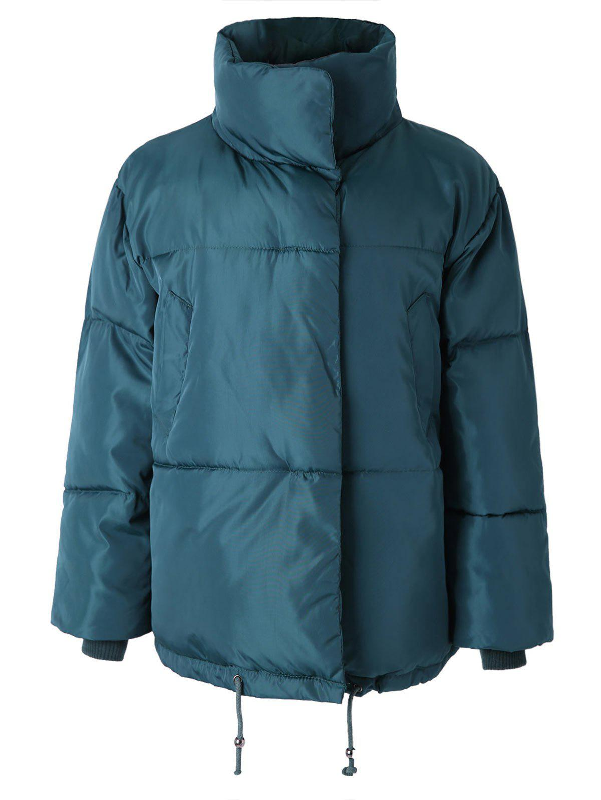 Latest Funnel Collar Drawstring Waist Puffer Coat