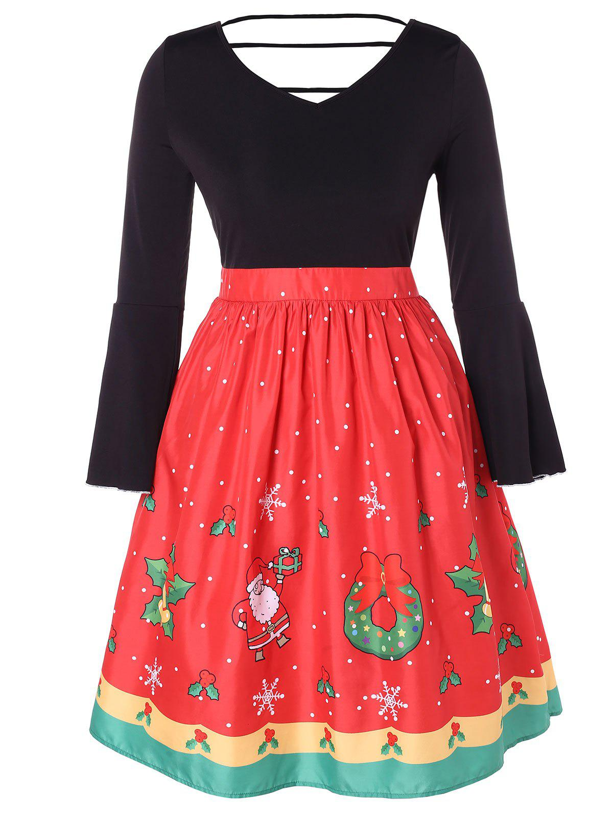 Trendy Christmas Plus Size Printed Bell Sleeve Dress